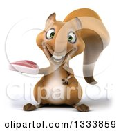 Clipart Of A 3d Squirrel Holding A Beef Steak Royalty Free Illustration