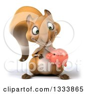 Clipart Of A 3d Squirrel Holding And Looking Down At A Piggy Bank Royalty Free Illustration
