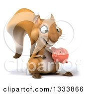 Clipart Of A 3d Squirrel Facing Slightly Right And Holding A Piggy Bank Royalty Free Illustration