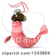 Clipart Of A 3d Pink Shrimp Pirate Facing Left Royalty Free Illustration by Julos