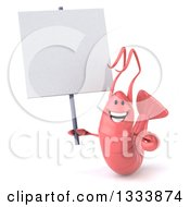 Clipart Of A 3d Pink Shrimp Holding Up A Blank Sign Royalty Free Illustration by Julos