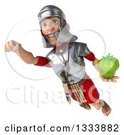 Clipart Of A 3d Young Male Roman Legionary Soldier Flying And Holding A Green Bell Pepper Royalty Free Illustration