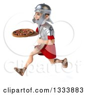 Clipart Of A 3d Young Male Roman Legionary Soldier Sprinting To The Right And Holding A Pizza Royalty Free Illustration