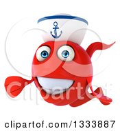 Clipart Of A 3d Happy Red Sailor Fish Presenting Royalty Free Illustration