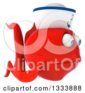 Clipart Of A 3d Sad Red Sailor Fish Facing Right Royalty Free Illustration