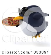 Clipart Of A 3d Penguin Wearing Sunglasses Flying To The Left And Holding Pizza Royalty Free Illustration