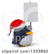 Clipart Of A 3d Christmas Penguin Wearing A Santa Hat Facing Slightly Right And Holding A Blank Sign Royalty Free Illustration