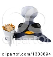 Clipart Of A 3d Penguin Chef Wearing Sunglasses And Holding French Fries Over A Sign Royalty Free Illustration