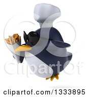 Clipart Of A 3d Penguin Chef Wearing Sunglasses Facing Slightly Left Flying And Holding French Fries Royalty Free Illustration