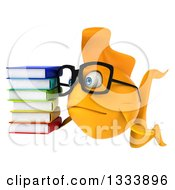 Clipart Of A 3d Sad Yellow Fish Wearing Glasses Facing Slightly Left And Holding A Stack Of Books Royalty Free Illustration