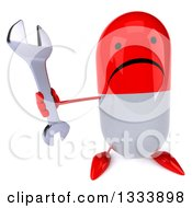 Clipart Of A 3d Unhappy Red And White Pill Character Holding Up A Wrench Royalty Free Illustration
