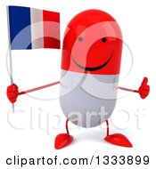 Clipart Of A 3d Happy Red And White Pill Character Giving A Thumb Up And Holding A French Flag Royalty Free Illustration