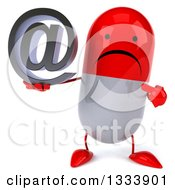 Clipart Of A 3d Unhappy Red And White Pill Character Holding And Pointing To An Email Arobase At Symbol Royalty Free Illustration by Julos