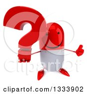 Clipart Of A 3d Happy Red And White Pill Character Holding Up A Thumb And Question Mark Royalty Free Illustration