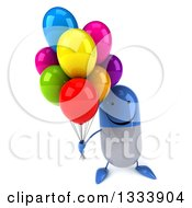 Clipart Of A 3d Happy Blue And White Pill Character Holding Up Party Balloons Royalty Free Illustration