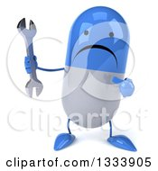 Clipart Of A 3d Unhappy Blue And White Pill Character Holding And Pointing To A Wrench Royalty Free Illustration