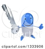 Clipart Of A 3d Happy Blue And White Pill Character Holding Up A Thumb And A Key Royalty Free Illustration
