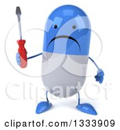 Clipart Of A 3d Unhappy Blue And White Pill Character Holding A Screwdriver Royalty Free Illustration