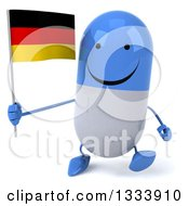 Clipart Of A 3d Happy Blue And White Pill Character Walking And Holding A German Flag Royalty Free Illustration