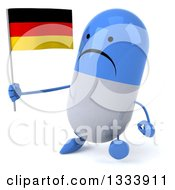 Clipart Of A 3d Unhappy Blue And White Pill Character Walking Slightly To The Left And Holding A German Flag Royalty Free Illustration
