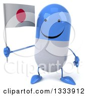 Clipart Of A 3d Happy Blue And White Pill Character Holding A Japanese Flag Royalty Free Illustration