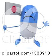 Clipart Of A 3d Unhappy Blue And White Pill Character Jumping And Holding A Japanese Flag Royalty Free Illustration