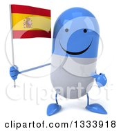 Clipart Of A 3d Happy Blue And White Pill Character Holding And Pointing To A Spanish Flag Royalty Free Illustration