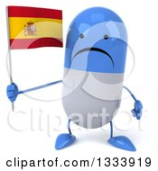 Clipart Of A 3d Unhappy Blue And White Pill Character Holding A Spanish Flag Royalty Free Illustration