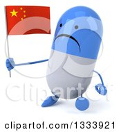 Clipart Of A 3d Unhappy Blue And White Pill Character Walking Slightly To The Left And Holding A Chinese Flag Royalty Free Illustration