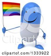 Clipart Of A 3d Happy Blue And White Pill Character Holding A Rainbow Flag Royalty Free Illustration