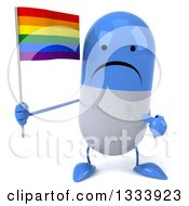 Clipart Of A 3d Unhappy Blue And White Pill Character Holding And Pointing To A Rainbow Flag Royalty Free Illustration