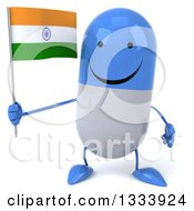Clipart Of A 3d Happy Blue And White Pill Character Holding An Indian Flag Royalty Free Illustration