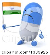 Clipart Of A 3d Unhappy Blue And White Pill Character Walking Slightly Left And Holding An Indian Flag Royalty Free Illustration