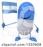 Clipart Of A 3d Happy Blue And White Pill Character Holding An Argentine Flag Royalty Free Illustration