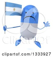 Clipart Of A 3d Unhappy Blue And White Pill Character Jumping And Holding An Argentine Flag Royalty Free Illustration