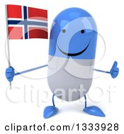 Clipart Of A 3d Happy Blue And White Pill Character Giving A Thumb Up And Holding A Norwegian Flag Royalty Free Illustration