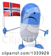 Clipart Of A 3d Unhappy Blue And White Pill Character Giving A Thumb Down And Holding A Norwegian Flag Royalty Free Illustration
