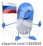 Clipart Of A 3d Happy Blue And White Pill Character Giving A Thumb Up And Holding A Russian Flag Royalty Free Illustration