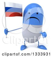 Clipart Of A 3d Unhappy Blue And White Pill Character Holding And Pointing To A Russian Flag Royalty Free Illustration