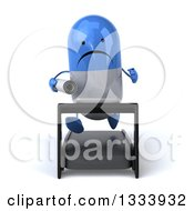 Clipart Of A 3d Unhappy Blue And White Pill Character Holding Plans And Running On A Treadmill Royalty Free Illustration