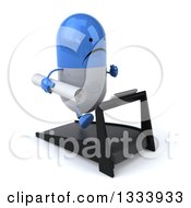 Clipart Of A 3d Unhappy Blue And White Pill Character Facing Slightly Right Holding Plans And Running On A Treadmill Royalty Free Illustration