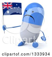 Clipart Of A 3d Unhappy Blue And White Pill Character Walking Slightly Left And Holding An Australian Flag Royalty Free Illustration