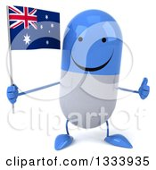 Clipart Of A 3d Happy Blue And White Pill Character Giving A Thumb Up And Holding An Australian Flag Royalty Free Illustration