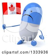 Clipart Of A 3d Unhappy Blue And White Pill Character Walking Slightly To The Left And Holding A Canadian Flag Royalty Free Illustration