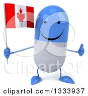 Clipart Of A 3d Happy Blue And White Pill Character Giving A Thumb Up And Holding A Canadian Flag Royalty Free Illustration