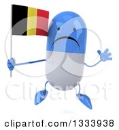 Clipart Of A 3d Unhappy Blue And White Pill Character Jumping And Holding A Belgian Flag Royalty Free Illustration