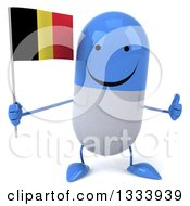Clipart Of A 3d Happy Blue And White Pill Character Giving A Thumb Up And Holding A Belgian Flag Royalty Free Illustration