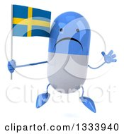 Clipart Of A 3d Unhappy Blue And White Pill Character Jumping And Holding A Swedish Flag Royalty Free Illustration