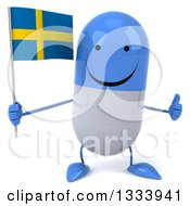 Clipart Of A 3d Happy Blue And White Pill Character Giving A Thumb Up And Holding A Swedish Flag Royalty Free Illustration