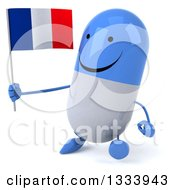 Clipart Of A 3d Happy Blue And White Pill Character Walking Slightly Left And Holding A French Flag Royalty Free Illustration
